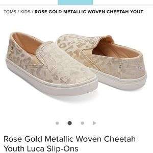 Rose Gold Metallic Woven Cheetah Youth Slip-Ons